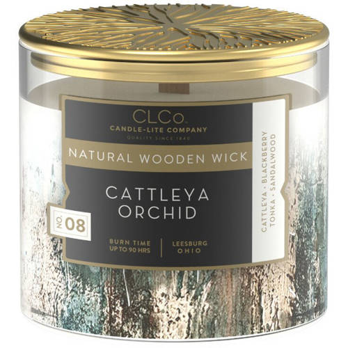 Candle-lite CLCo Candle Natural Wooden Wick 14 oz luxury scented candle ~ 90 h - No. 08 Cattleya Orchid
