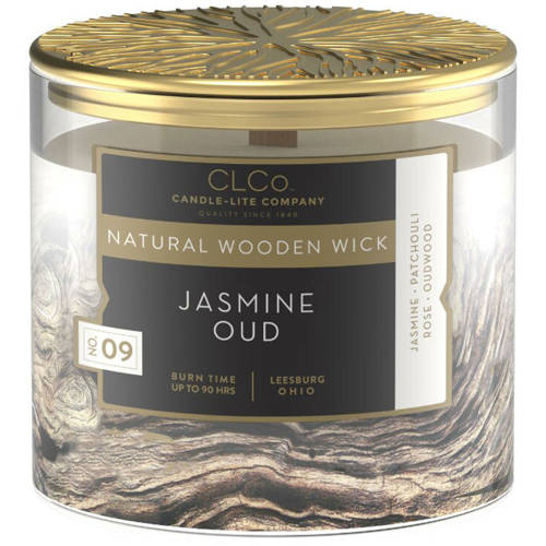 Candle-lite CLCo Candle Natural Wooden Wick 14 oz luxury scented candle ~ 90 h - No. 36 Jasmine Oud
