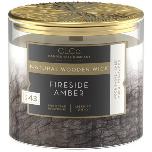 Candle-lite CLCo Candle Natural Wooden Wick 14 oz luxury scented candle ~ 90 h - No. 43 Fireside Amber