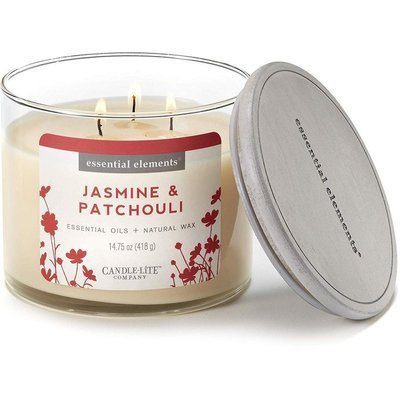 Candle-lite Essential Elements 3-Wick Natural Scented Candle Glass Jar 14.75 oz 418 g - Jasmine & Patchouli