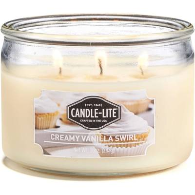 Candle-lite Everyday Collection 3 Wick Terrace Jar Glass Scented Candle 10 oz 283 g - Creamy Vanilla Swirl