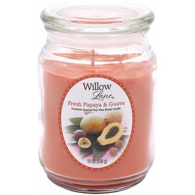 Candle-lite Willow Lane Glass Jar Soy Scented Candle 19 oz 538 g - Papaya & Guava
