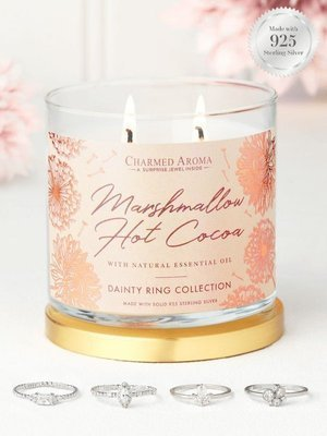 Charmed Aroma jewel soy scented candle essential oils Silver Ring 12 oz 340 g - Marshmallow Hot Cocoa