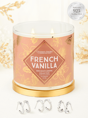 Charmed Aroma jewel soy scented candle with Silver Earrings 12 oz 340 g - French Vanilla