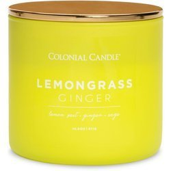 Colonial Candle Pop of Color large soy scented candle 3 wicks 14.5 oz 411 g - Lemongrass Ginger