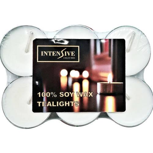 INTENSIVE COLLECTION 100% Soy Wax Tealights podgrzewacze sojowe bezzapachowe świeczki do masażu 6 szt ~ 4 h