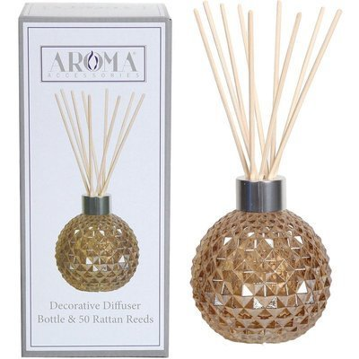 Woodbridge empty glass reed diffuser with 50 rattan reeds set - Brown