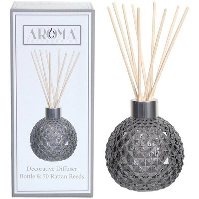 Woodbridge empty glass reed diffuser with 50 rattan reeds set - Grey