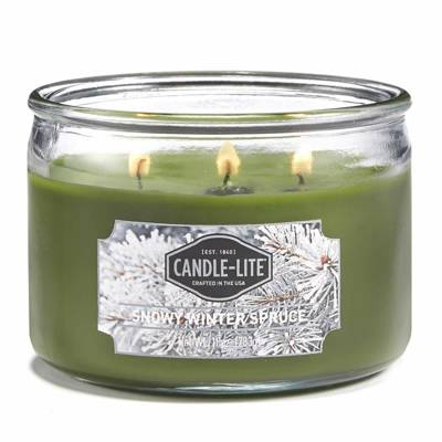 Candle-lite Everyday Collection 3-Wick Terrace Jar Glass Candle 10 oz świeca zapachowa w szkle z trzema knotami 82/105 mm 283 g ~ 40 h - Snowy Winter Spruce