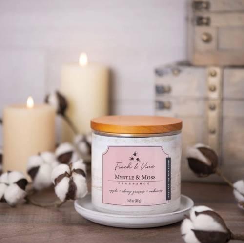 Colonial Candle Finch & Vine sojowa świeca zapachowa w szkle 3 knoty 14.5 oz 411 g - Myrtle & Moss
