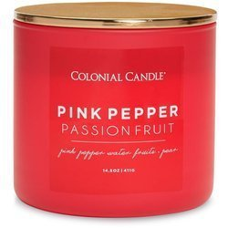 Colonial Candle Pop Of Color sojowa świeca zapachowa w szkle 3 knoty 14.5 oz 411 g - Pink Pepper Passionfruit