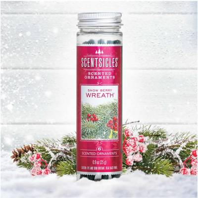 Enviroscent Scentsicles Scented Ornaments patyczki zapachowe na choinkę 6 szt - Snow Berry Wreath