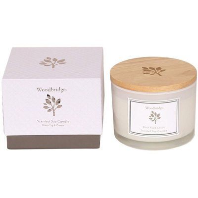 Woodbridge świeca zapachowa sojowa w szkle 3 knoty 370 g pudełko - Black Fig & Cassis