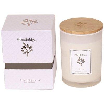 Свеча Woodbridge с ароматом сои в стеклянной коробке 270 г - Pink Champagne