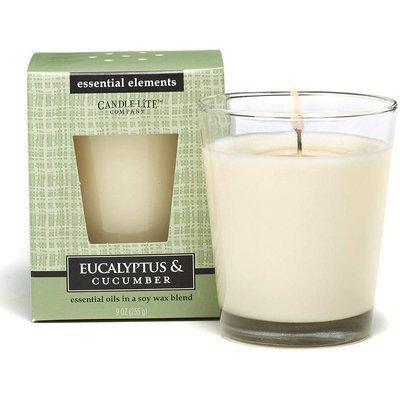 Candle-lite Essential Elements Glass Candle 9 oz świeca zapachowa sojowa w szkle z olejkami eterycznymi 255 g ~ 50 h - Eucalyptus & Cucumber