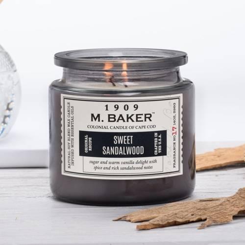 Colonial Candle M. Baker duża sojowa świeca zapachowa w słoju 14 oz 396 g - Sweet Sandalwood